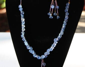 Light Blue and Lavender Flower Beaded Dangly Necklace and Earrings Set