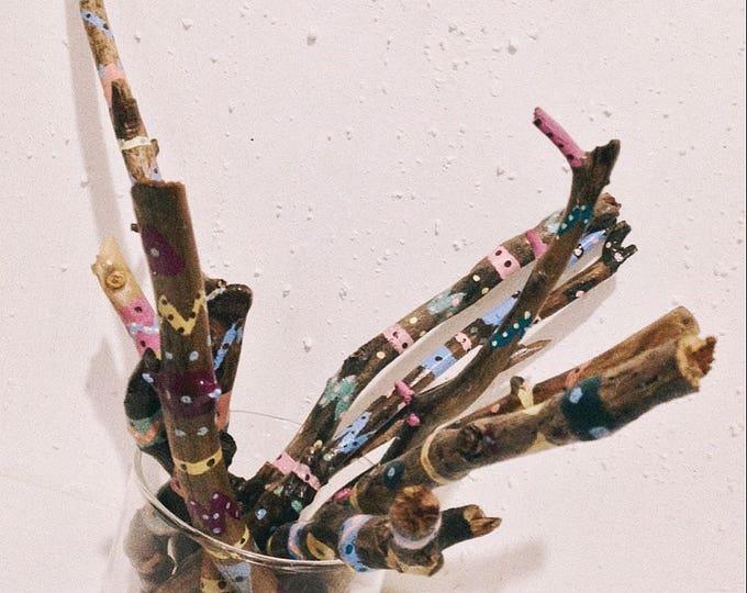 Painted Branches Vase Filler - 9 pcs -Boho Driftwood Decor - Bohemian Home Decor - Boho Party Decoration - South Western Decor - Aztec Decor