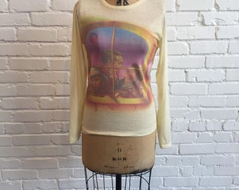 1970s Screen Print Tee //  Under Two Flags Movie Long Sleeve Shirt  // Vintage 1970s for the 1930s Claudette Colbert Ronald Colman