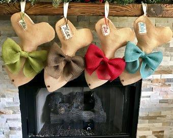 Burlap Cat Christmas Stocking