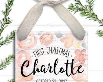 Baby Girl Christmas Ornament - First Christmas Ornament - Pink Floral Baby's 1st Christmas Ornament - Girl Baby Christmas Ornament