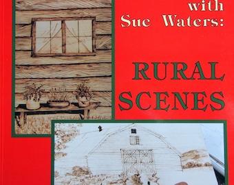 vintage wood burning kit. rural scenes wood burning with sue waters vintage woodburning pattern book 1994 kit
