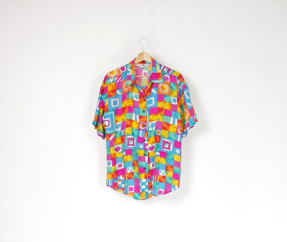 80s Jonathan Martin colorful vintage silk shirt / size S-M-L
