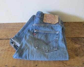 vintage 90s LEVI'S 501  jeans // Made in UK / distressed denim / High waist