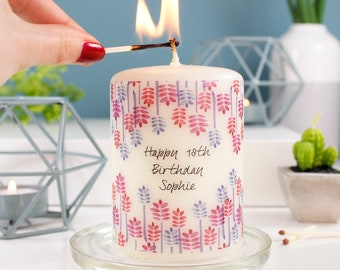 Birthday Candle Gift -18th Birthday Candle - Personalised Birthday Candle - 50th Birthday Gift - Happy Birthday Candle - Personalised Candle