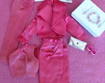 Vintage Barbie SATIN N ROSE #1611 w/ Glitter Heels, Jewelry & Hanger Near MINT
