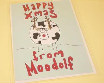 Happy Xmas from Moodolf Christmas card - original illustration, Christmas card, greetings card