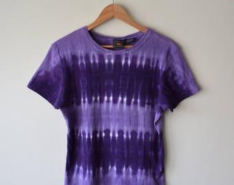 90s Purple Horizontal Stripe Tie Dye T-Shirt Top // Summer Festival, Vaporwave Seapunk, Boho Hippie Grunge Fashion