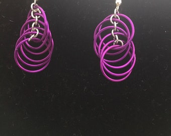 Magenta Spiral Earrings