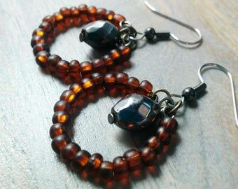 Glow Earrings - Mountain Forged - Amber glass, metallic grey crystal, hoop, hypoallergenic, AgAuCu, silver, brown, simple, beaded, black