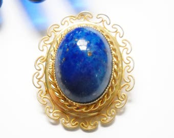 Brooch Lapis Lazuli Glass Cabochon Gold Filigree Metal Renaissance Revival Vintage Lapis Brooch Retro Victorian Blue Gold