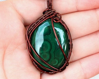 Malachite Necklace/Wire Wrapped Gemstone Pendant/Wire Wrapped Jewelry/Anniversary Gift