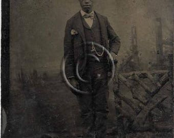 Black Americana Tintype photograph of a well dressed, Victorian Fashion