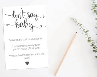 Don't Say Baby Baby Shower Game, Printable Baby Shower Game, Baby Shower Games