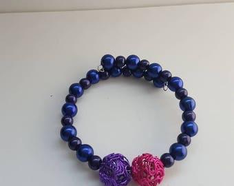 Art deco bracelet, wire work bracelet, handmade bracelet, dark blue bangle, gothic bracelet, goth jewelry, pink bangle, girl bracelet