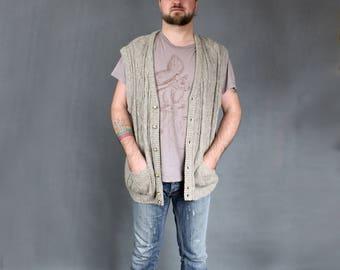 80s Vintage Chunky Long Waistcoat, Gray Warm Long Plus Size Men's Vest, Retro Button Down Warm Cable Knit Vest, Sleeveless Cardigan, Sz XL