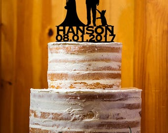 Customize Cake Topper with Cat, Mr. & Mrs. Last  Name Cake Topper, Bride and Groom Wedding Cake Topper, Wedding Cake Topper - AT242