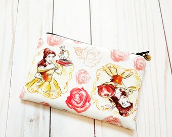 Princess Belle in White Small Zipper Pouch