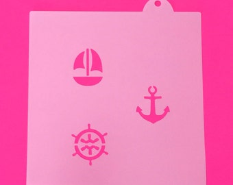 Nautical Oreo Stencils, Nautical Macaron Stencils, Anchor Oreo Stencil, Boat Wheel Oreo Stencil, Sailboat Oreo Stencil, Baby Shower Stencils