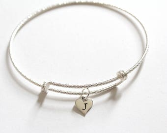 Sterling Silver Bracelet with Sterling Silver J Letter Heart Charm, Silver Tiny Stamped J Initial Heart Charm Bracelet, J Charm Bracelet