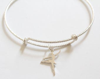 Sterling Silver Bracelet with Sterling Silver Ballerina Charm, Ballerina Bracelet, Ballerina Charm Bracelet, Ballet Pendant Bracelet, Ballet