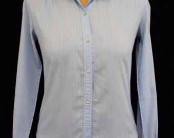 1980s Levi Strauss & Co Vintage Shirt Blue 8 Women's Cotton Polyester Ruffled Collar Long Sleeve Button Blouse