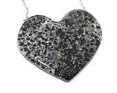 Huge Giant Heart Necklace Holographic Holo Black Shiny Glitter Pendant Huge Big Costume Cosplay Pendant