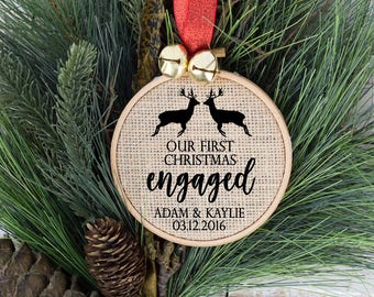 Engaged Christmas Ornament, Personalized First Christmas Ornament, Our First Christmas Engaged, Engaged Ornament, Newly Engaged Gift,