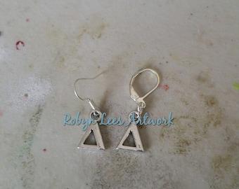Small Silver Delta Greek Letter Symbol Charm Earrings on Silver Earring Hooks or Leverbacks