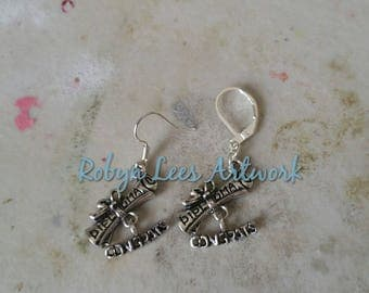Small Silver Diploma Scroll & Congrats Word Charm Earrings on Silver Earring Hooks or Leverbacks. University, College, Graduation, Gift