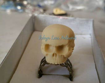 Small 1:12 Scale 3D Resin Human Skull Adjustable Bronze Filigree Ring. Anatomical, Costume, Gothic, Wiccan, Pagan, Victorian, Steampunk