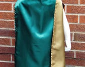 Cape,  Green and Gold Satin, Loki Inspired