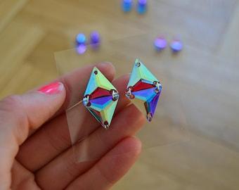 Rainbow Triangles Rhinestones Crystal Stud Earrings