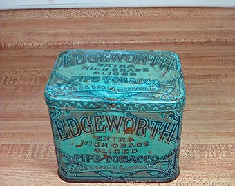 Vintage Edgeworth Pipe Tobacco Tin, 1950s, Tobacciana, Mid Century Tobacco Container, Edgeworth Tobacco Tin, Vintage Tobacco Tin