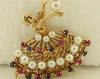 "Vintage 1950 / 1960's 14kt Yellow Gold w/ Cultured Pearls,Sapphires & Rubies, Ballerina 2"" x 2"" Pin."