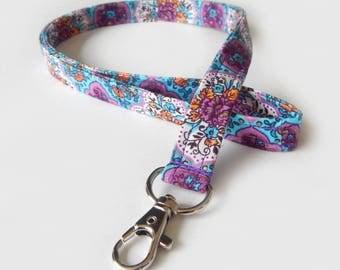 Floral Lanyard / Purple Lanyard / Pretty Keychain / Blue / Key Lanyard / ID Badge Holder / Fabric Lanyard / Flowers