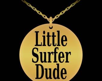 Little Surfer Dude Engraved Necklace