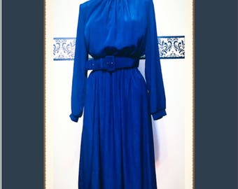 1980's Striated Ocean Blue Hipster Secretary Dress by Kay Brandon for h&a, Size 8 Medium, Vintage 60's Hipster Day Dress, 1980's Goth Career