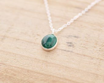 Malachite Necklace.  Sterling silver necklace.