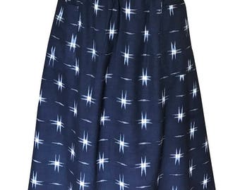 Navy Stars Cotton Fair Trade Midi Skirt with Pockets
