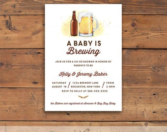 Baby Brewing Shower Printable Invite, beer and mug