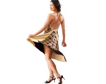 Gold and Plaid Tango Dress - Cowl Neck Dress - Argentine Tango Dress - Gold Halter Dress - Milonga Dress - Open Back Dress - Tango Fashion