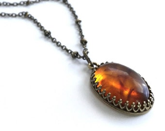 Amber Necklace, Long Brass Chain, Adult Amber Pendant, Oval Orange Stone Necklace, Hand Made Bronze Jewelry