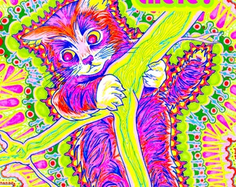 Psychedelic Hang In There Kitten Poster