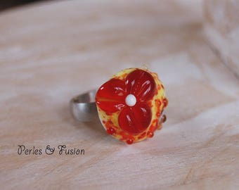 Lampwork Glass ring * flower * ring interchangeable red/Orange/yellow - glass-handmade - murano glass - glass flower ring.