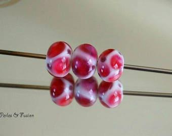 Set of 3 Lampwork Glass Beads * points * pearls - glass Lampwork bracelet-bracelet creation pink murano glass beads
