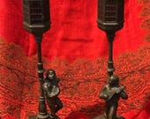 RESERVED FOR ARIETE & Hiercoles Cast Metal Incense Burners Troubadours/Lampposts/Vantine's Depose/Made in France/1930s 40s