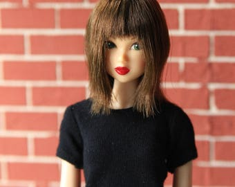 Brown Wig for J-doll, Momoko, Obitsu 3.5-4 inch
