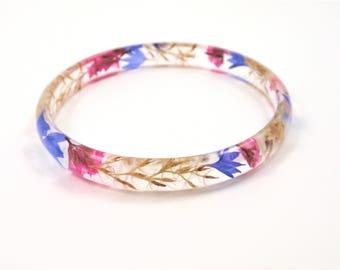 Pressed Flower Bracelet, Eco Resin Bangle Bracelet, real flower jewelry, Plant Bracelet, Botsnical jewelry, Flower resin jewelry, Size L