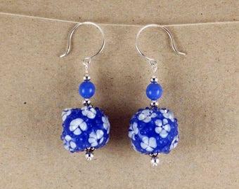Lampwork Earrings Handmade Blue White Lampwork Glass Bead Silver Dangle Drop Earrings